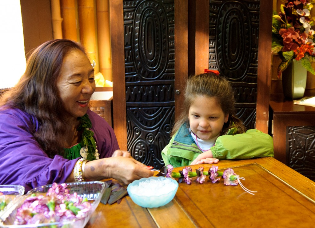 Making Leis At the Polynesian