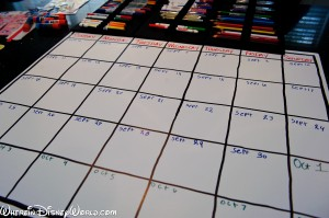 The grid with dates